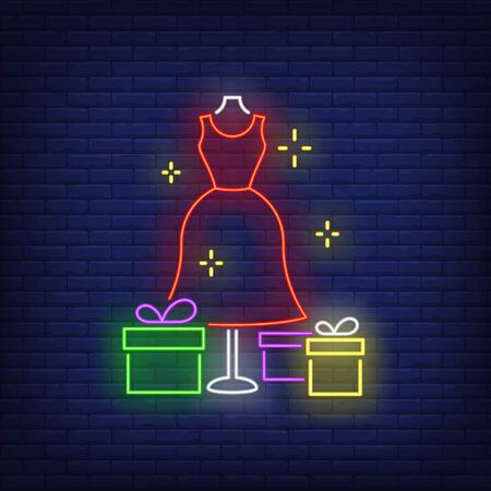 Red dress on mannequin and gift boxes neon sign. Retail, marketing, sale design. Night bright neon sign, colorful billboard, light banner. Vector illustration in neon style.