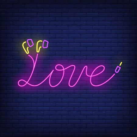 Love neon lettering made of earphones cable. Music, sound, device design. Night bright neon sign, colorful billboard, light banner. Vector illustration in neon style.