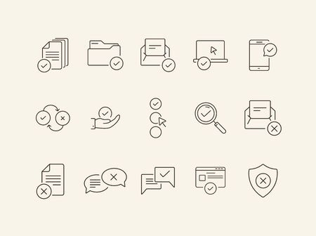 Assertion line icons. Set of line icons. Letter with checkmark, approved documents. Checkmark concept. Vector illustration can be used for topics like work, business
