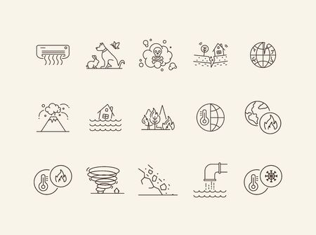Natural disasters icons. Set of line icons. Air conditioner, flood, high temperature. Ecology concept. Vector illustration can be used for topics like environment protection, nature