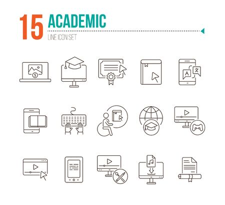Academic line icon set. E-book, webinar, computer. Online education concept. Can be used for topics like course, diploma, self-development
