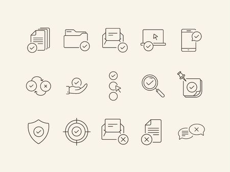Checkmark line icons. Set of line icons. Letter with checkmark, approved documents. Approval concept. Vector illustration can be used for topics like work, business Ilustração