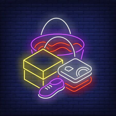 Folded clothes, shoe, box and shopping bag neon sign. Retail, marketing, sale design. Night bright neon sign, colorful billboard, light banner. Vector illustration in neon style. Ilustrace