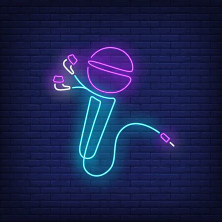 Microphone made of earphones cable neon sign. Music, sound, device design. Night bright neon sign, colorful billboard, light banner. Vector illustration in neon style.