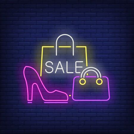 Sale neon lettering, shopping bag and woman heeled shoe. Retail, marketing, sale design. Night bright neon sign, colorful billboard, light banner. Vector illustration in neon style.