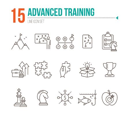Advanced training icon set. Line icons collection on white background. Puzzle, coaching, skill. Experience concept. Can be used for topics like career, motivation, strategy 矢量图像