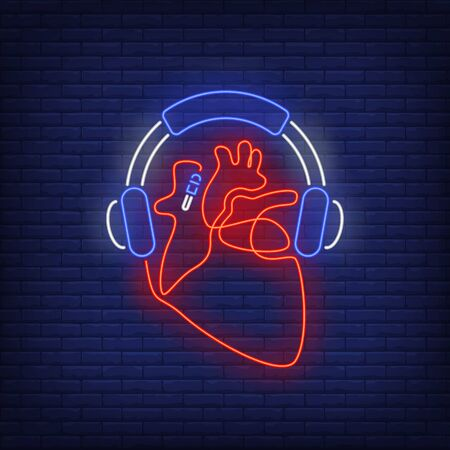 Headphones and heart made of cable neon sign. Music, sound, device design. Night bright neon sign, colorful billboard, light banner. Vector illustration in neon style.