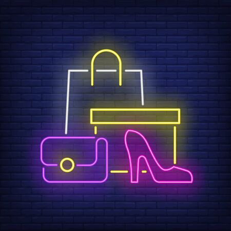 Shopping bag, box, woman heeled shoe neon sign. Retail, marketing, sale design. Night bright neon sign, colorful billboard, light banner. Vector illustration in neon style.  イラスト・ベクター素材