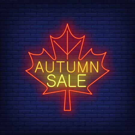 Autumn sale neon lettering on red maple leaf. Shopping, discount, sale design. Night bright neon sign, colorful billboard, light banner. Vector illustration in neon style.