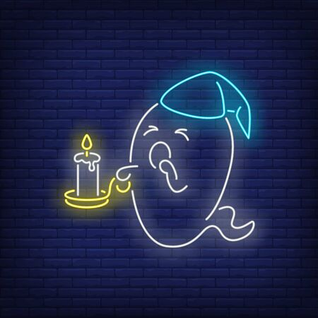 Sleepy ghost holding burning candle and yawning neon sign. Halloween party design. Night bright neon sign, colorful billboard, light banner. Vector illustration in neon style.  イラスト・ベクター素材