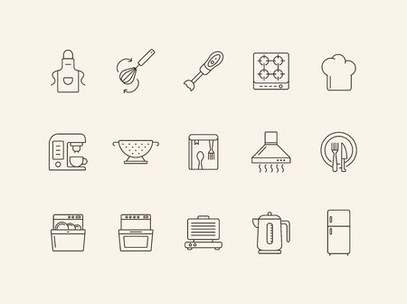 Cookery line icons. Set of line icons. Cookery book, fridge, electric kettle. Culinary concept. Vector illustration can be used for topics like restaurant business, cooking Ilustração