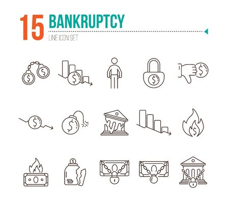 Bankruptcy icons. Set of line icons on white background. Financial crime, decrease, burning money. Economic depression concept. Vector illustration can be used for topics like finance, banking, money Ilustração