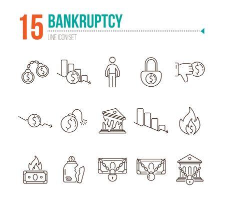 Icone di fallimento. Set di icone di linea su sfondo bianco. Crimine finanziario, diminuzione, denaro bruciato. Concetto di depressione economica. L'illustrazione vettoriale può essere utilizzata per argomenti come finanza, banche, denaro Vettoriali