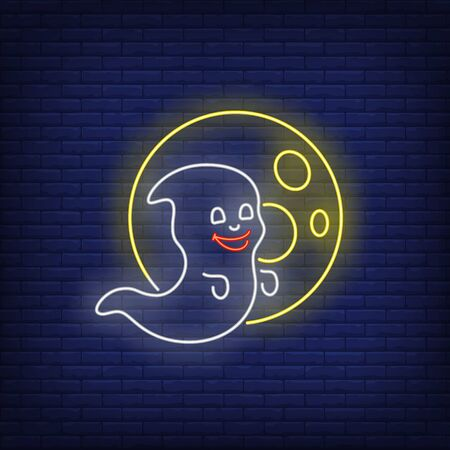 Smiling ghost and moon neon sign. Halloween party, fear design. Night bright neon sign, colorful billboard, light banner. Vector illustration in neon style. Ilustrace