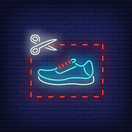 Scissors cutting coupon with shoe neon sign. Retail, marketing, sale design. Night bright neon sign, colorful billboard, light banner. Vector illustration in neon style.