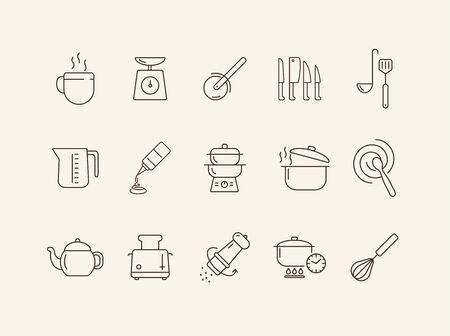 Icone degli elettrodomestici da cucina. Set di icone di linea. Sbattere, mescolare il cucchiaio, tostapane. Concetto culinario. L'illustrazione vettoriale può essere utilizzata per argomenti come attività di ristorazione, cucina
