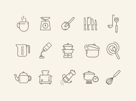Symbole für Kochgeräte. Reihe von Liniensymbolen. Schneebesen, Rührlöffel, Toaster. Kulinarisches Konzept. Vektorillustration kann für Themen wie Gastronomie, Kochen verwendet werden