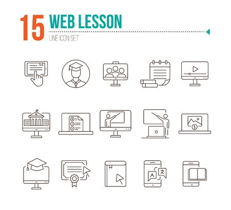 Web lesson line icon set. Computer, smartphone, online platform. E-learning concept. Can be used for topics like education, degree, class Ilustração