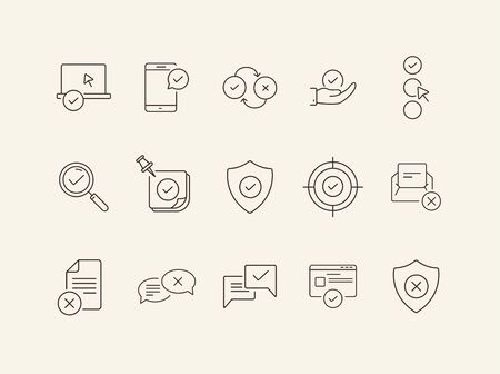 Acceptance line icons. Set of line icons. Letter with checkmark, approved documents. Checkmark concept. Vector illustration can be used for topics like work, business