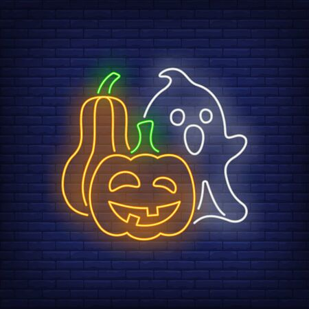 Ghost and pumpkins neon sign. Halloween party, fear design. Night bright neon sign, colorful billboard, light banner. Vector illustration in neon style.