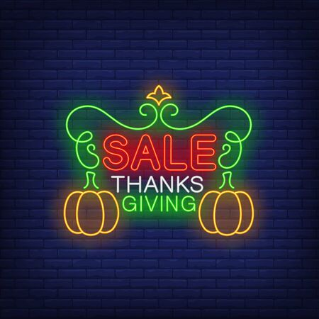 Thanksgiving sale neon sign. Glowing neon text. Pumpkin, discounts, Thanksgiving day. Night bright advertisement. Vector illustration in neon style for cafe, restaurant, shop Stock Illustratie