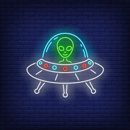 Alien in flying saucer neon sign. Invasion, fantasy, extraterrestrial intelligence design. Night bright neon sign, colorful billboard, light banner. Vector illustration in neon style.