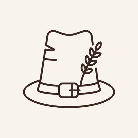 Pilgrim hat line icon. Accessory, headwear, buckle. Thanksgiving day concept. Can be used for topics like holiday, costumer, American history  イラスト・ベクター素材
