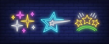 Rating stars neon signs set. Celebration, success design. Night bright neon sign, colorful billboard, light banner. Vector illustration in neon style.