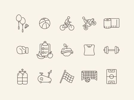 Active lifestyle line icon set. Sport, diet, weight loss. Training concept. Can be used for topics like wellness, leisure, fitness