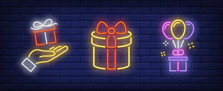 Gift boxes, hand and balloons neon signs set. Celebration, holiday party design. Night bright neon sign, colorful billboard, light banner. Vector illustration in neon style.