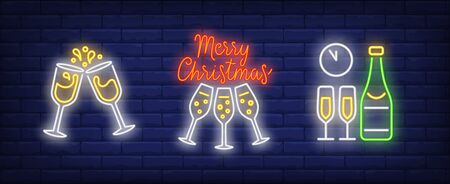 Merry Christmas neon lettering, champagne bottles and glasses. Christmas, New Year Day, celebration design. Night bright neon sign, colorful billboard, light banner. Vector illustration in neon style.