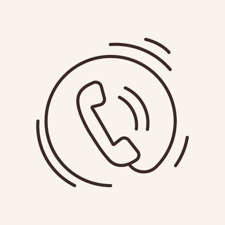 Ringing phone line icon. Telephone receiver, sound, hotline. Telemarketing concept. Can be used for topics like communication, call center, technical support