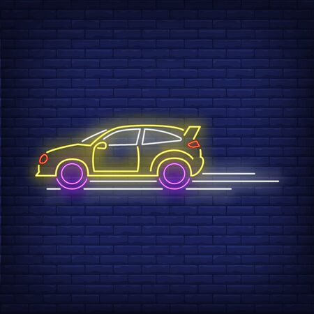 Machine driving fast neon sign. Glowing neon automobile. Race, competition, motor car. Night bright advertisement. Vector illustration in neon style for shop, business