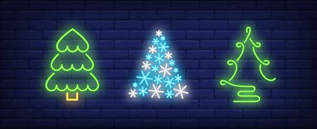 Fir-trees neon signs set. Christmas, New Year Day, celebration design. Night bright neon sign, colorful billboard, light banner. Vector illustration in neon style. Stock Illustratie
