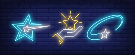 Hand and flying stars neon signs set. Celebration, success, rating design. Night bright neon sign, colorful billboard, light banner. Vector illustration in neon style.