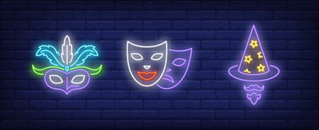 Masks, wizard hat and beard neon signs set. Carnival, fun, party, masquerade design. Night bright neon sign, colorful billboard, light banner. Vector illustration in neon style.