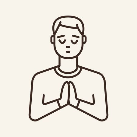 Praying man line icon. Faith, hope, religion. Christianity concept. Can be used for topics like spirituality, meditation, worship