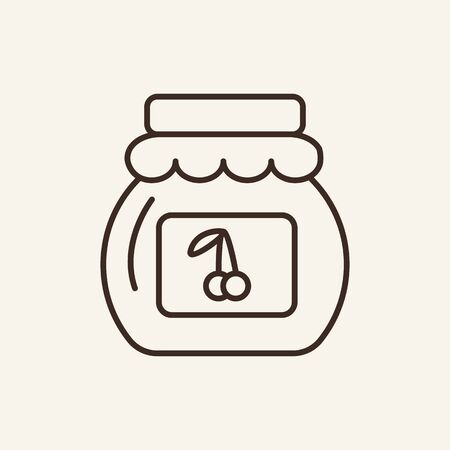 Cherry jam line icon. Jelly, marmalade, confiture. Dessert concept. Can be used for topics like preserving, nutrition, culinary Ilustração
