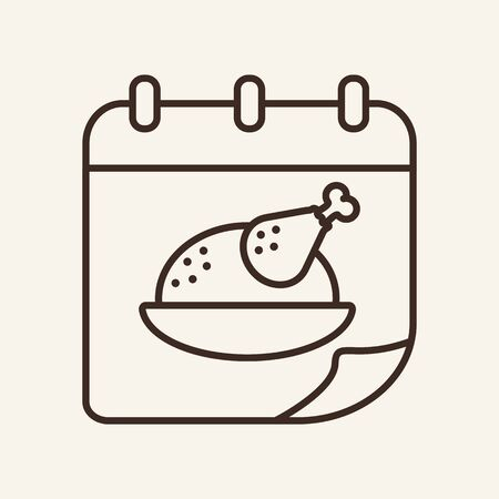 Thanksgiving day line icon. Roasted turkey, dish, calendar. Celebration concept. Can be used for topics like date, holiday, Christmas, dinner  イラスト・ベクター素材