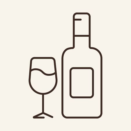Wine bottle line icon. Alcohol, glass, restaurant. Winemaking concept. Can be used for topics like winery, menu, sommelier