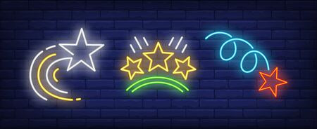 Flying stars and rating neon signs set. Celebration, success, rank design. Night bright neon sign, colorful billboard, light banner. Vector illustration in neon style. Stock Illustratie