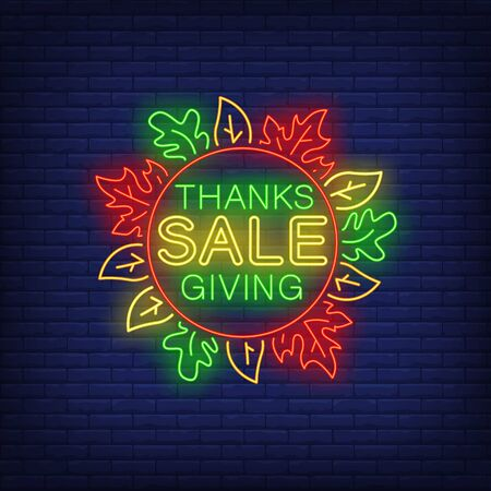 Thanksgiving sale in neon style. Glowing neon text. Leaves, discounts, Thanksgiving day. Night bright advertisement. Vector illustration in neon style for cafe, restaurant, shop