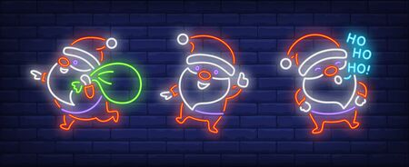 Santa Clauses sack neon signs set. Christmas, New Year Day design. Night bright neon sign, colorful billboard, light banner. Vector illustration in neon style.