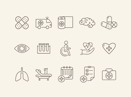 Medic icons. Set of line icons. Medical test tubes, cardiogram, medical calendar. Public health service concept. Vector illustration can be used for topics like medicine, healthcare, hospital Stock Illustratie