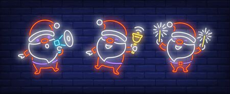 Santa Clauses with megaphone, bell and sparkler neon signs set. Christmas, New Year Day design. Night bright neon sign, colorful billboard, light banner. Vector illustration in neon style.