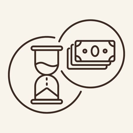 Time is money line icon. Sandglass, banknotes, proverb. Training concept. Vector illustration can be used for topics like education, career, internet learning Иллюстрация
