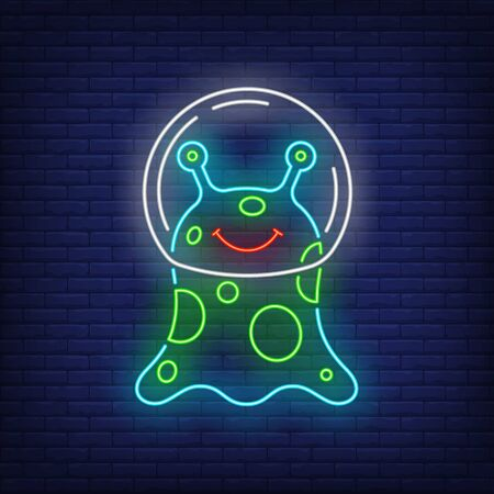 Smiling non-humanoid alien wearing glass helmet neon sign. Invasion, fantasy, extraterrestrial design. Night bright neon sign, colorful billboard, light banner. Vector illustration in neon style. Stock Illustratie