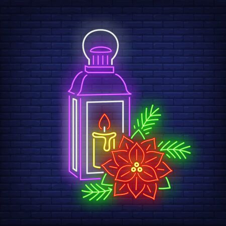 Lantern with candle and poinsettia flower neon sign. Christmas and New Year Day decor design. Night bright neon sign, colorful billboard, light banner. Vector illustration in neon style.