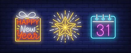 Happy New Year neon lettering, December thirty first on calendar. Christmas, holiday, celebration design. Night bright neon sign, colorful billboard, light banner. Vector illustration in neon style.  イラスト・ベクター素材
