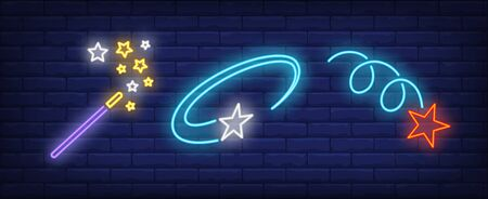 Magic wand and flying stars neon signs set. Celebration, success, rating design. Night bright neon sign, colorful billboard, light banner. Vector illustration in neon style. Stock Illustratie